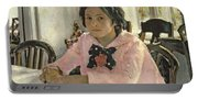 Girl With Peaches Portable Battery Charger