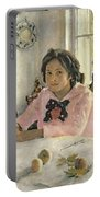 Girl With Peaches Portable Battery Charger by Valentin Aleksandrovich Serov