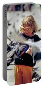 Girl With Pigeons Portable Battery Charger