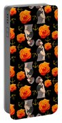 Girl With Roses And Anchors Black Portable Battery Charger