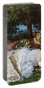 Girls On The Banks Of The Seine Portable Battery Charger by Gustave Courbet
