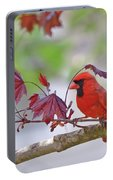 Give Me Shelter - Male Cardinal Portable Battery Charger by Kerri Farley