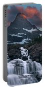 Glacier Morning Waterfall And Moonset Portable Battery Charger