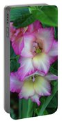Gladiolas Blooming With Ripening Blueberries Portable Battery Charger