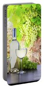 White Wine In Vineyard Portable Battery Charger
