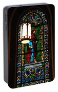 Glass Window Of Saint Philip In The Basilica In Santa Fe  Portable Battery Charger