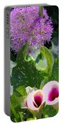 Globe Thistle And Calla Lilies Portable Battery Charger by Corey Ford
