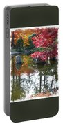 Glorious Fall Colors Reflection With Border Portable Battery Charger by Carol Groenen