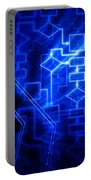 Glowing Blue Flowchart Portable Battery Charger