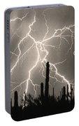 God Bless America Bw Lightning Storm In The Usa Desert Portable Battery Charger