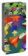 Gold Fish And Water Lily Pads Portable Battery Charger