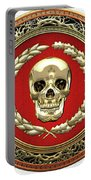 Gold Human Skull Over White Leather  Portable Battery Charger