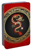 Golden Chinese Dragon Fucanglong On Red Leather  Portable Battery Charger