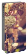Golden Christmas Hearts Portable Battery Charger