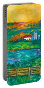 Golden Farm Scene Sketch Portable Battery Charger