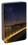 Golden Gate Bridge Under The Starry Night Sky Portable Battery Charger