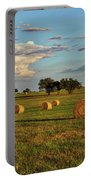 Golden Glow Over Haybales Portable Battery Charger