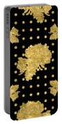 Golden Gold Floral Rose Cluster W Dot Bedding Home Decor Art Portable Battery Charger