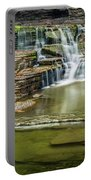 Golden Leaves And Mossy Tiers Of Enfield Glen Waterfall Portable Battery Charger