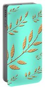 Golden Leaves On Aqua Portable Battery Charger