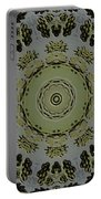 Mandala In Pewter And Gold Portable Battery Charger