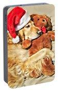 Golden Retriever Dog Christmas Teddy Bear Portable Battery Charger
