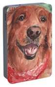 Golden Retriever Dog In Watercolori Portable Battery Charger