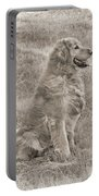 Golden Retriever Dog Sepia Portable Battery Charger by Jennie Marie Schell