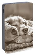 Golden Retriever Dog Sleeping With My Friend Sepia Portable Battery Charger