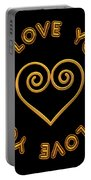 Golden Scrolled Heart And I Love You Portable Battery Charger