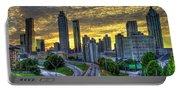 Golden Skies Atlanta Downtown Sunset Cityscape Art Portable Battery Charger