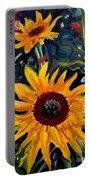 Golden Sunflower Burst Portable Battery Charger