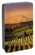 Golden Sunset Over Hood River Pear Orchard Portable Battery Charger