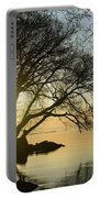Golden Tranquility - Lacy Tree Silhouettes On The Lake Shore Portable Battery Charger