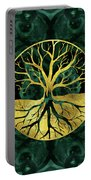 Golden Tree Of Life Yggdrasil On Malachite Portable Battery Charger