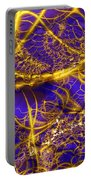 Golden Vines Blue Velvet Portable Battery Charger