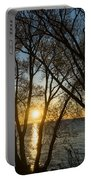 Golden Willow Sunrise - Greeting A Bright Day On The Lake Portable Battery Charger