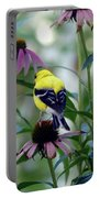 Goldfinch Visiting Coneflower Portable Battery Charger