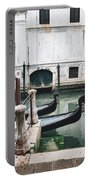 Gondolas On A Canal In Venice, Italy Portable Battery Charger