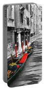 Gondolas On Venice. Black And White Pictures With Colour Detail  Portable Battery Charger