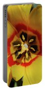 Gorgeous Look At The Center Of A Yellow Tulip Portable Battery Charger