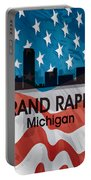 Grand Rapids Mi American Flag Squared Portable Battery Charger