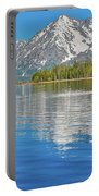 Grand Teton Mountain Reflection On Jackson Lake Portable Battery Charger