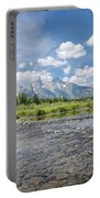 Grand Tetons On A Sunny Day Portable Battery Charger by Margaret Pitcher