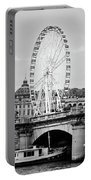 Grande Roue In Paris - Black And White Portable Battery Charger