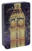Graphic Art London Big Ben - Ultraviolet And Golden Portable Battery Charger