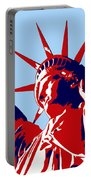 Graphic Statue Of Liberty Red White Blue Portable Battery Charger