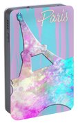 Graphic Style Paris Eiffel Tower Pink Portable Battery Charger by Melanie Viola