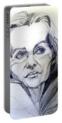 Graphite Portrait Sketch Of A Woman With Glasses Portable Battery Charger
