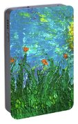 Grassland With Orange Flowers Portable Battery Charger